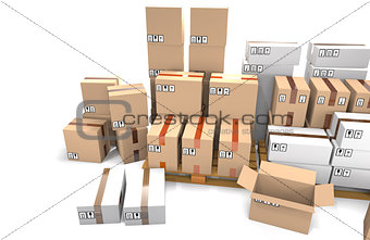 Group of stacked cardboard boxes on wooden shipping pallets are