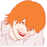portrait of a smiling girl with red hair. Style Pop Art