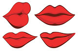 Vector set illustration. Sexy red female lips