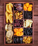 Аssorted dried fruits in wooden box