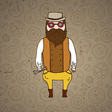 Cute steampunk pilot with wrench and beard
