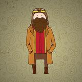 Cute steampunk pilot with beard