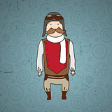 Cute steampunk pilot with mustache