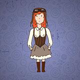 Cute steampunk woman pilot