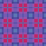Seamless checkered pattern in blue, pink and violet