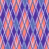 Seamless rhombic pattern in blue, coral and violet