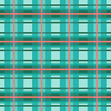 Seamless checkered pattern in turquoise and red