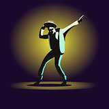 Dancing man on dark background
