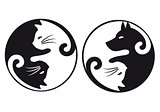 Yin yang cat and dog, vector set