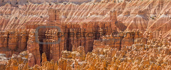 Close up panorama of the amphitheater in Bryce Canyon