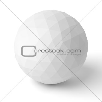 3d polygonal sphere with shadow on white