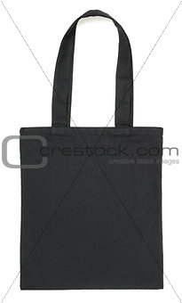 Black fabric bag on white