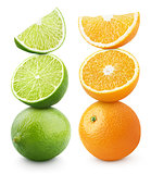 Ripe orange and lime citrus fruit isolated on white