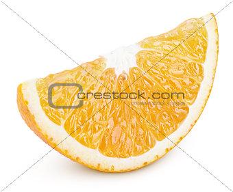 Slice of orange citrus fruit isolated on white