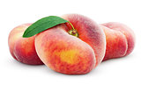 Chinese flat donut peaches with leaf on white