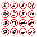 Gluten free signs, no wheat, no bread, no cake signs
