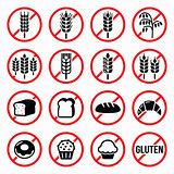 Gluten free signs, no wheat, no bread, no cake signs