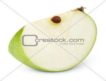 Green apple slice on white