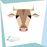 low poly animal icon. vector cow