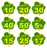 Discount sale leaf clover. 17 percent offer in St Patricks Day