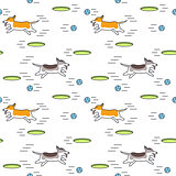 Playing dog seamless pattern.