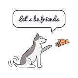 Friendly Happy dog with speech bubble and saying