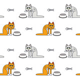 Poor unhappy hungry cats seamless pattern.