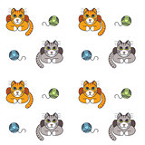Happy home cats seamless pattern.