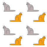 Cats sit sideways seamless pattern.
