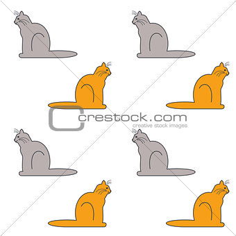 Cats sit sideways seamless pattern.