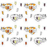 Mom cat and many kittens seamless pattern.