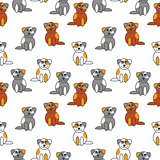 Many cute puppies seamless pattern.