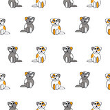 Cute puppies seamless pattern.