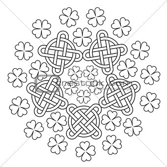 Celtic Mandala with knot ornament and clover of 4 leafs.
