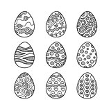 Set of hand drawn doodle easter eggs.