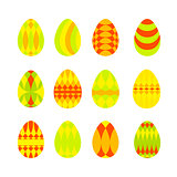 Set of bright colorful easter eggs isolated on white background.