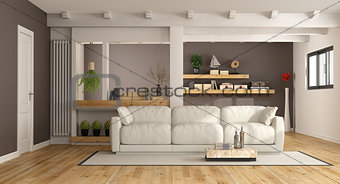 Modern lounge with white couch