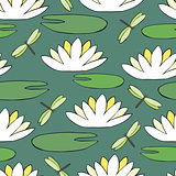 Seamless pattern with a water lily and dragonfly