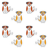 Happy St. Bernard dog seamless pattern.