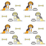 Poor unhappy hungry dogs seamless pattern.