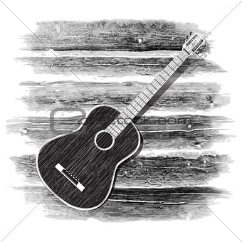 acoustic guitar on the wooden background