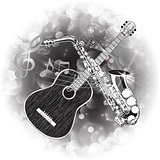acoustic guitar and saxophone in a monochrome version