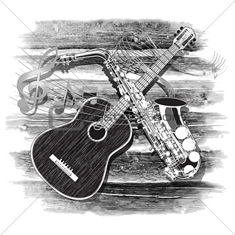 acoustic guitar and saxophone on the wooden background