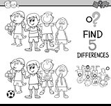 task of differences coloring page