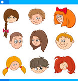 children cartoon characters set
