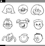 children faces characters set