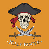 Jolly Roger skull in the cocked hat with two blades on the yellow background