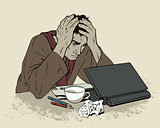 Man in despair sitting at a computer. Headache