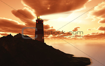 3D lighthouse against a sunset sky