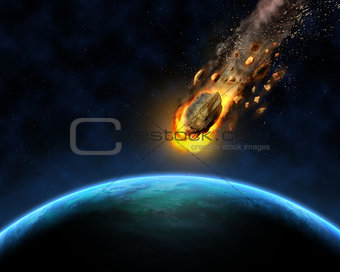 3D space scene background with rocks hurtling towards a fictiona